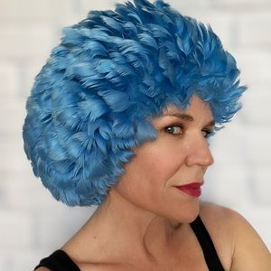 Mid Century Blue Feathered Fancy Hat